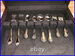 Oneida Arbor Rose Stainless USA Flatware 45 Pieces Service For 8 with Wood Case