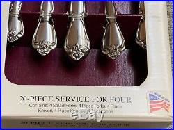 Oneida Arbor Rose/ True Rose stainless USA flatware 20 pieces