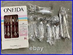 Oneida Arbor Rose/ True Rose stainless steel USA flatware 45 pieces