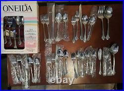 Oneida Bancroft 18/8 Stainless Flatware 5 place settings, plus extras