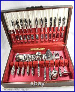 Oneida Betty Crocker My Rose Stainless Flatware Set 69 pc with Case