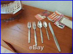Oneida Community Frostfire Stainless Flatware 49 Piece Set With Tray And Docs EX