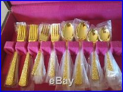 Oneida Community Gold Electroplate Rose Pattern Stainless Steel Flatware Set