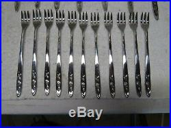 Oneida Community My Rose Stainless Steel 104pc 12 Place Setting Set Flatware VGC