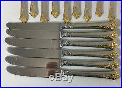 Oneida Cube Stainless Flatware GOLDEN DAMASK ROSE 30 Piece Service for 6
