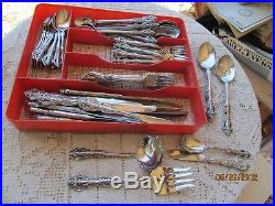 Oneida Cube Stainless Flatware Michelangelo 82 Pieces W Serving & Ice Tea