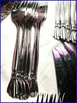 Oneida Deluxe ALEXIS Stainless Flatware Set Bowtie Ribbon 31pcs