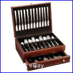 Oneida Easton 68 Piece Fine Flatware Set, Service for 12 with Mahogany Chest