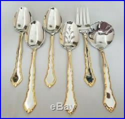 Oneida GOLDEN ROYAL CHIPPENDALE 70 Pc Flatware Silverware Set for 12 Stainless