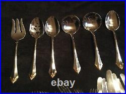 Oneida Julliard Gold Tipped Stainless Flatware 62 Pieces