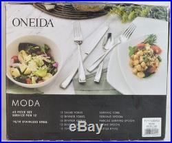 Oneida MODA Flatware 65 piece set Flatware Service for 12, 18/10 Stainless Steel