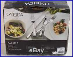Oneida MODA Flatware 65 piece set Flatware, Service for 12, Stainless Steel $300