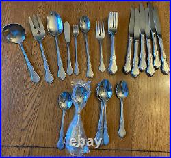 Oneida MORNING BLOSSOM Stainless Flatware Lot of 32 pcs Forks Spoons Serving Pcs