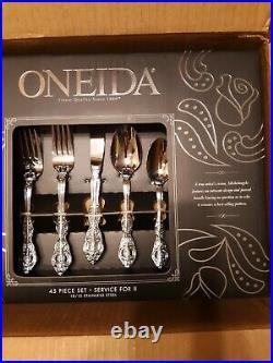 Oneida Michelangelo stainless flatware set of 8 + 5 piece host set, 45 pieces