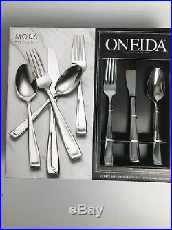 Oneida Moda 65 Piece Fine Flatware Set, Service for 12 18/10 Stainless Steel NIB