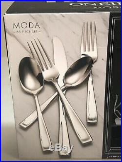 Oneida Moda 65 Piece Fine Flatware Set, Service for 12 New Open Box