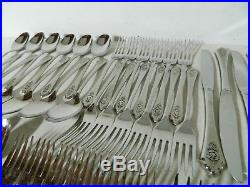 Oneida Premier Stainless Flatware SENTIMENTAL ROSE Service for 12 + Serving EUC