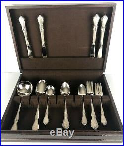 Oneida Profile Morning Blossom 23 Piece Stainless Flatware Set with Chest Unused