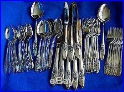 Oneida Spring Valley Mid Century Rose 48 Piece 8 Settings+ Stainless Flatware