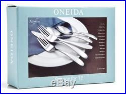 Oneida Stafford 65 Piece 18/10 Flatware Set for 12 in Wood Caddy LIFETIME W. NEW
