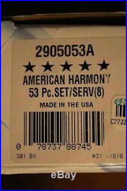 Oneida Stainless AMERICAN HARMONY ARBOR 53 Piece Service for 8 Unused 18/8 USA