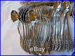 Oneida Stainless Flatware Grand Majesty 56 Pc set for 8 Heirloom USA silverware