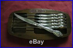 Oneida Stainless LOUISIANA Set of 6 Serrated Steak Knives & Tray USA Flatware
