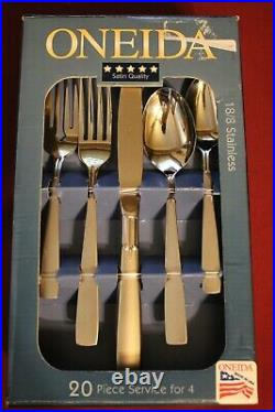 Oneida Stainless SATIN ACCENT 18/8 20 Piece Service for 4 Unused Flatware USA