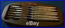 Oneida Stainless VENETIA Set of 6 Steak Knives Knife in Holder Vintage USA