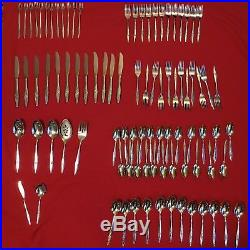 Oneidacraft Deluxe Stainless Lasting Rose 12 Place Settings 89 pcs Flatware BOX