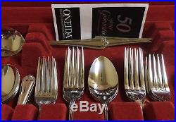 Rare Jesmond 50 pc Oneida Stainless 18/8 Flatware set service for 6. New In Box