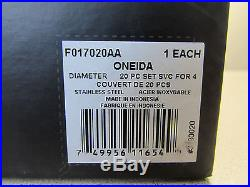 SET OF 20 PIECES Oneida Stainless DIAMETER Service for Four NEW