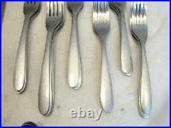 Service for 12Oneida Brushed Stainless Modern Flatware Satin Finish