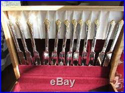 Unused Golden Damask Rose Pattern 12 Place Sets 67 Pcs By Oneida Stainless & Box