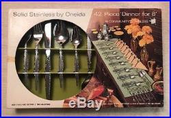 VENETIA Oneida Community 42 Piece Service for 8 Unused Vintage Stainless NIB