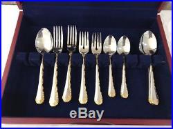 Vintage 43 Pc Community Oneida Golden Belle Rose Stainless Silverware Service 8