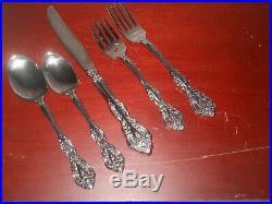 Vintage 70s Oneida Silverware Stainless Flatware 58 Pieces Michelangelo Pattern