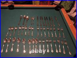 Vintage Oneida 45 Piece Stainless Steel Flatware Set Satin Tribeca USA 18/8