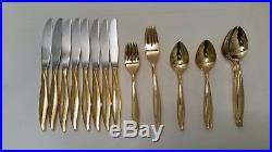Vintage Oneida 48 piece Golden Textura Gold Plated Silverware Set