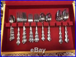 Vintage Oneida Deluxe Stainless Flatware MOZART 62 Pcs Set withChest