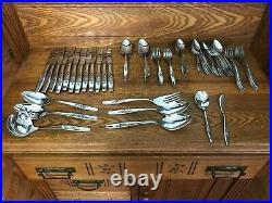 Vintage Oneida MY ROSE service 12+extras Community Stainless Flatware excellent