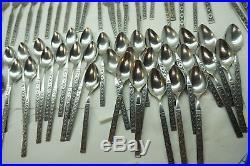 Vintage Oneida Stainless Flatware Lisbon Pattern 81 Pc Set Silverware Midcentury