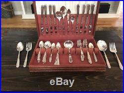 Vintage Oneida Stainless Steel Flatware Set 62 Piece Set With Wooden Chest