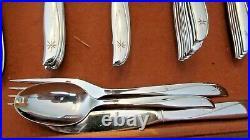 Vintage Oneida Twin Star Community Stainless Star Moon Atomic Flatware 147 Pcs
